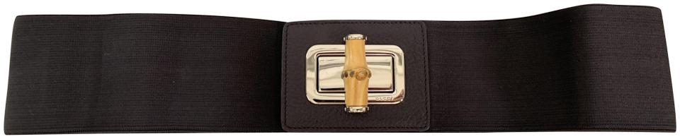 12721cf6fde19 Dark Brown Bamboo Turn Lock Leather Stretch Wide Waist Belt. GUCCI