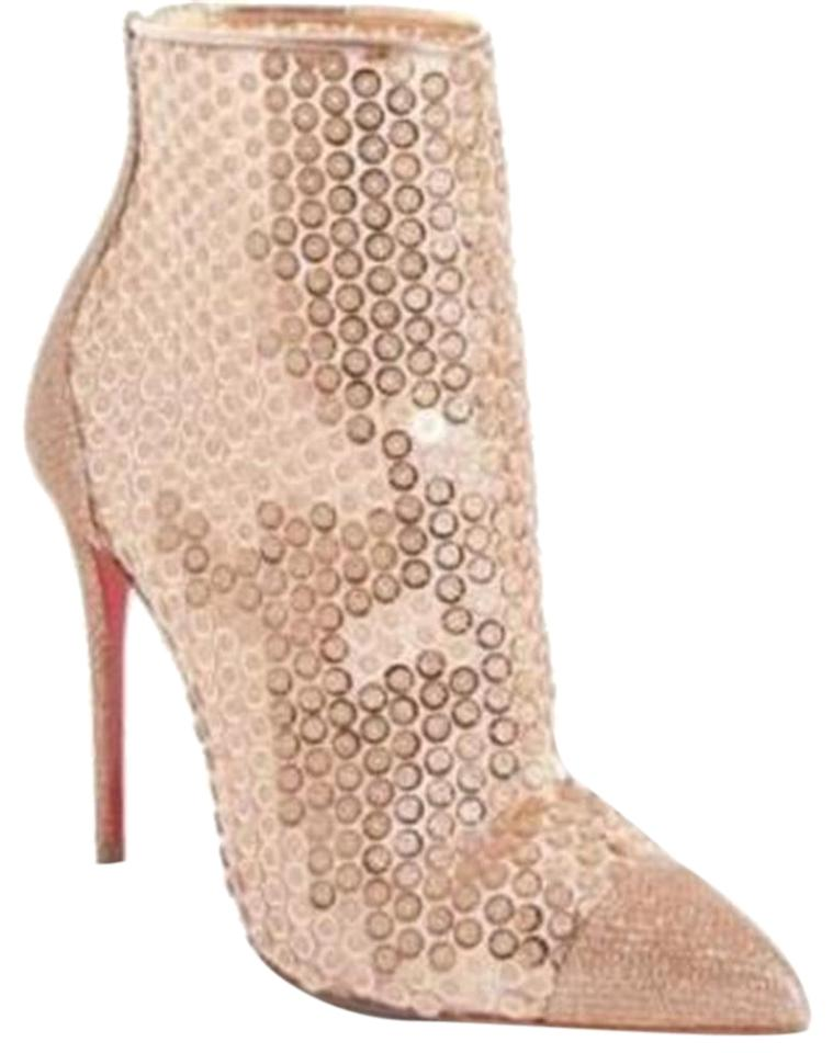 8bad640052c Christian Louboutin Nude Gipsybootie Gipsy 100 Floral Lace Ankle Heels Boots  Booties