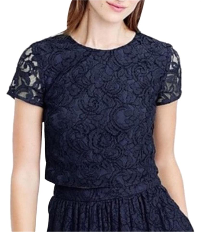 c9556c87ae2b3 J.Crew Navy Blue Floral Lace Crop Blouse Size 8 (M) - Tradesy