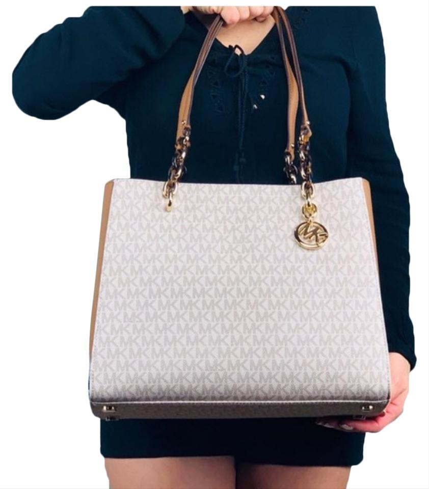 ccd017b029b261 Michael Kors Susannah Satchel Tote in vanilla white multicolor Image 0 ...