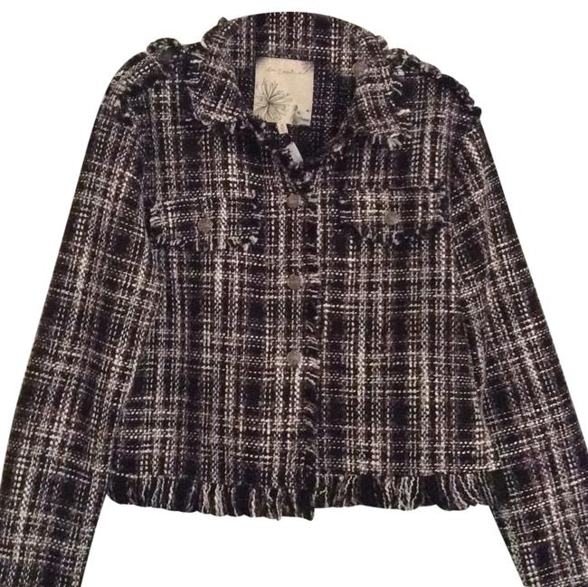 Item - Black White and Pink Plaid Tweed Jacket Size 8 (M)