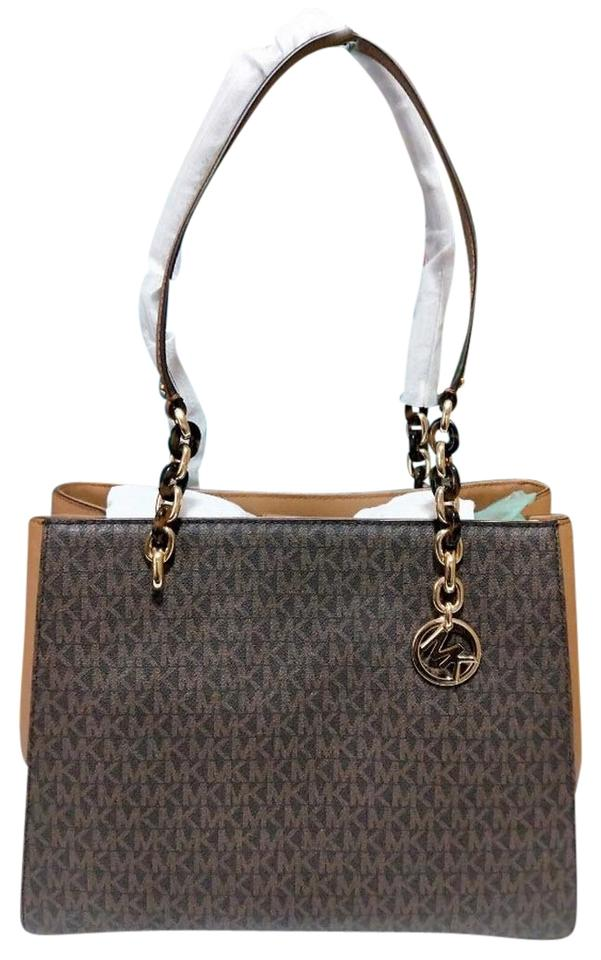 372f6988c4d9 Michael Kors Susannah Satchel Tote in brown acorn multicolor Image 0 ...