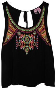 Love on a Hanger Camisole Aztec Tribal Embroidery Top Black, Colorful