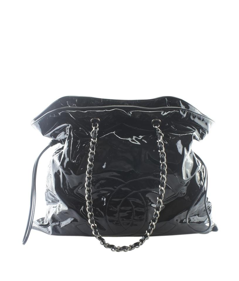 0388b5c565b7 Chanel Patent Leather Silver-ton Adult Pre-owned Tote in Black Image 0 ...
