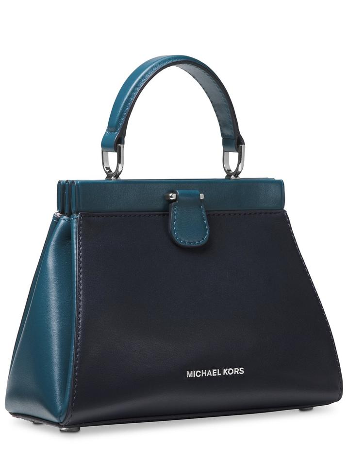4ae6bf67ec93 Michael Kors Gramercy Admiral Teal Silver Leather Cross Body Bag ...