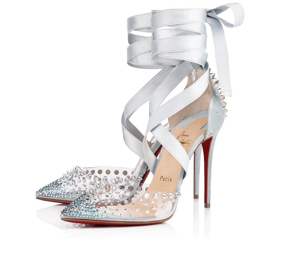 34d6cbd5106 Christian Louboutin Stiletto Pvp Crystal Studded Suede Babe Blue Pumps  Image 0 ...
