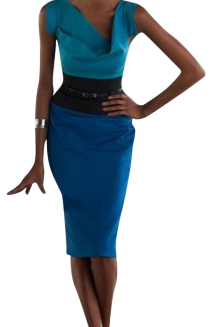 Item - Blue Jackie O Tricolor Colorblock Mid-length Formal Dress Size 2 (XS)