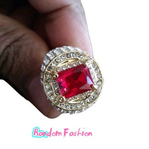 Fashion Jewelry For Everyone Gold 925 Silver Over 18k Filled Big Ruby White Topaz Stone 9 Ring