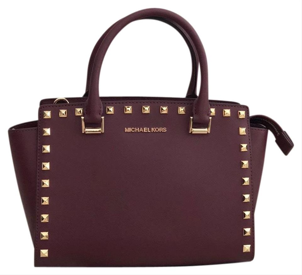9fedb5e2f910 MICHAEL Michael Kors Studded Selma Medium Merlot Leather Satchel ...