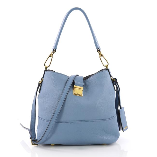 Item - Madras Convertible Small Blue Leather Hobo Bag