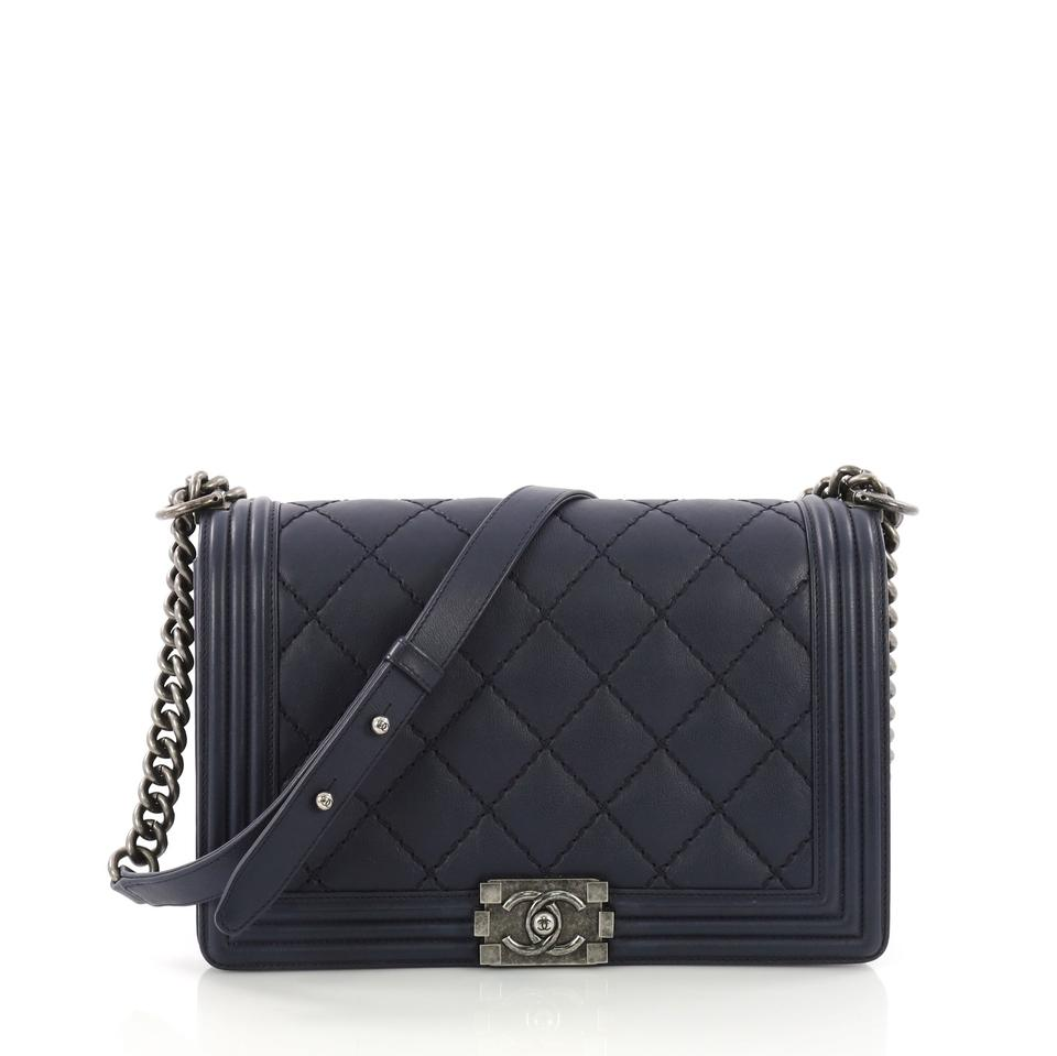 8c259fed7d6d64 Chanel Classic Flap Boy Quilted Calfskin New Medium Blue Leather Shoulder  Bag