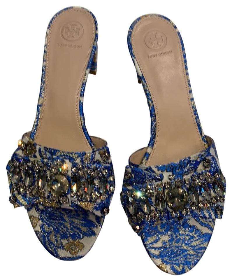 4819e3a0382bf1 Tory Burch Blue and Cream Mules Slides Size US 11 Regular (M