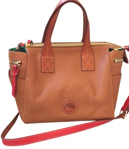 Dooney & Bourke Ryder Pebbled Leather Red And Green Satchel in Camel