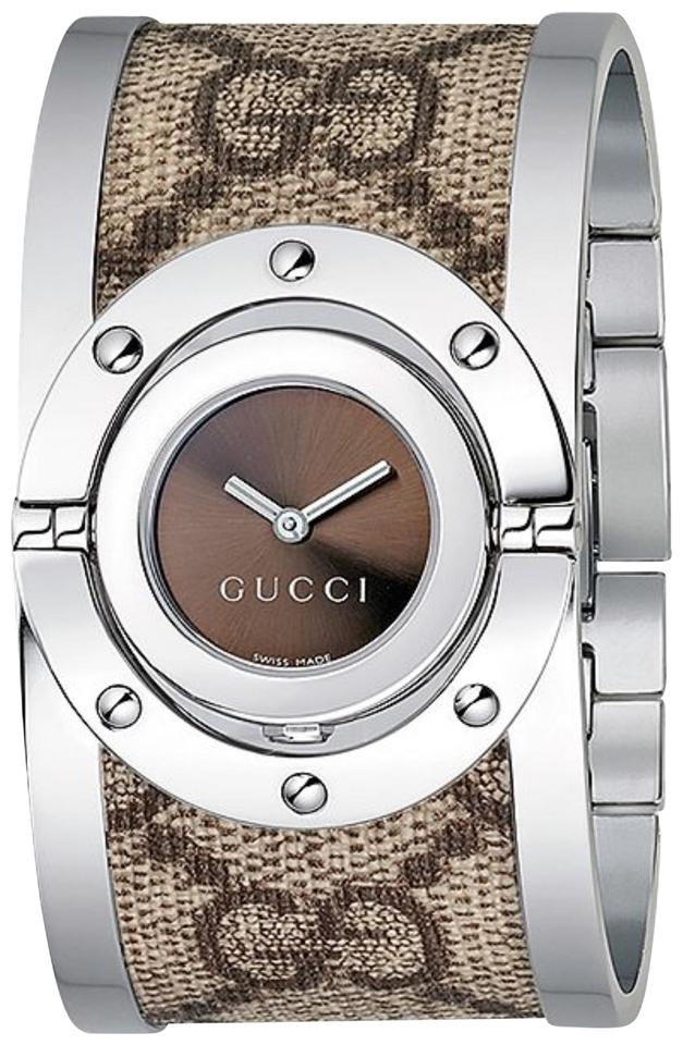 c15f69f0b20 Gucci Brown Women s Luxury Swiss Twirl   Canvas Bangle Watch - Tradesy