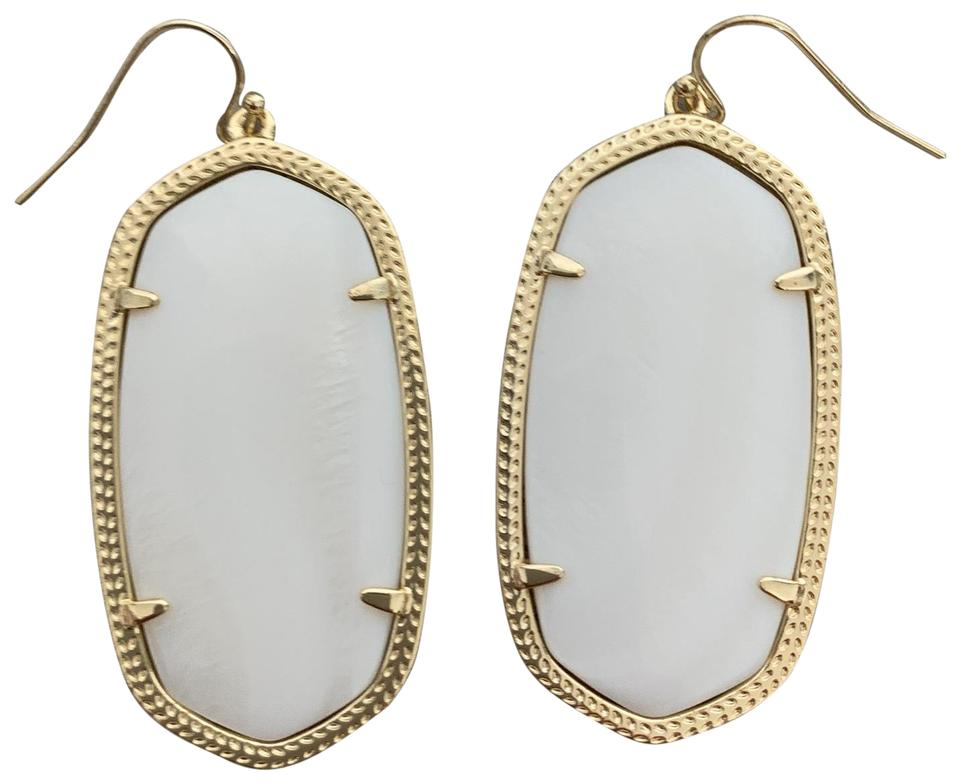 2f348483798c8 Kendra Scott White Mother Of Pearl with Yellow Gold Elle Drop Earrings 43%  off retail