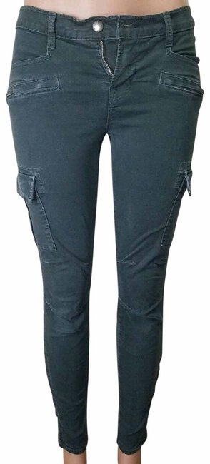 Item - Green Dark Rinse Olive Skinny Pant with Zippered Ankle Cargo Jeans Size 28 (4, S)