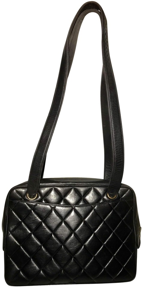6abe69cc Chanel Camera Quilted Black Lambskin Leather Shoulder Bag 66% off retail