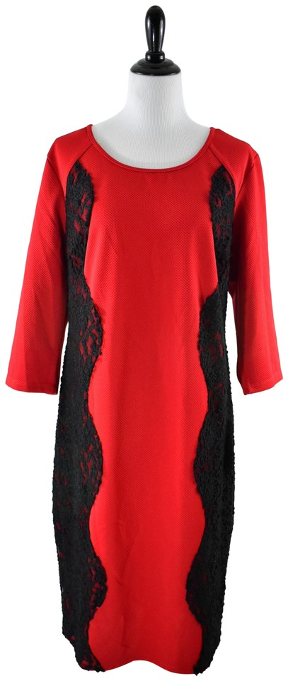 Trixxi Red Black Lace Quarter Sleeve Valentine\'s Day 22w Mid-length ...