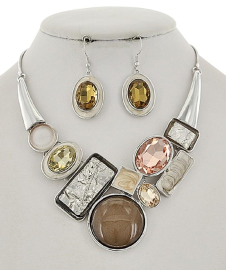 Preload https://img-static.tradesy.com/item/24631863/silverlt-brown-tone-glass-and-acrylic-earring-set-necklace-0-1-540-540.jpg
