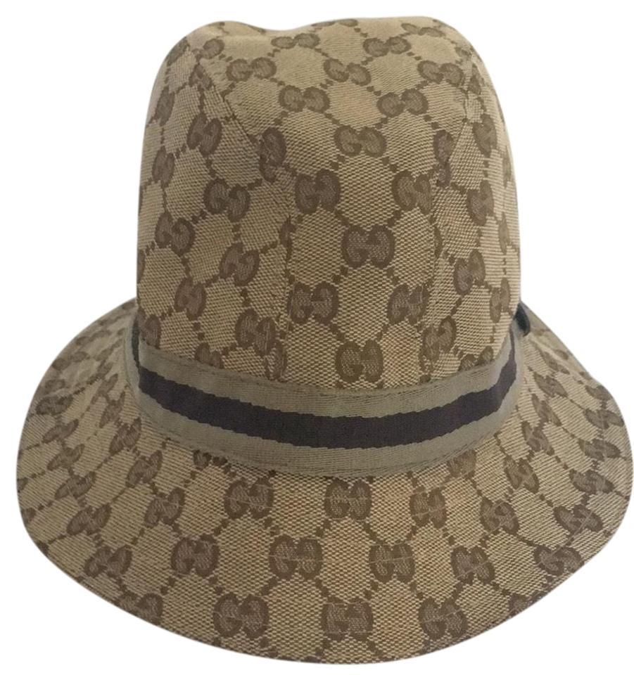 e39599ad00d Gucci Brown Guccisimo Print with Tan and Brown Ribbon Bucket Hat ...