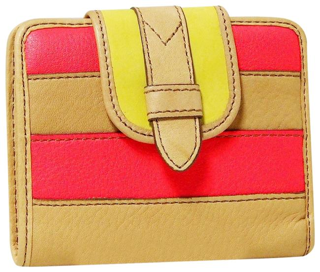 Fossil Pink/Yellow Multi Tate Patchwork Wallet Fossil Pink/Yellow Multi Tate Patchwork Wallet Image 1
