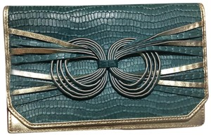 Katherine Kwei Green and Gold Clutch