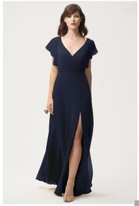 ec94b0bb13a Jenny Yoo Navy Chiffon Alanna Style  1883 Formal Bridesmaid Mob Dress Size 4  (