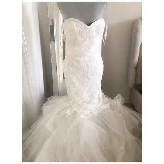 Amsale Strapless Lace Trumpet Gown Formal Wedding Dress Size 10 (M)
