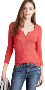 Anthropologie Boho Henley Longsleeve Button Down Shirt Red, Ribbed, Solid