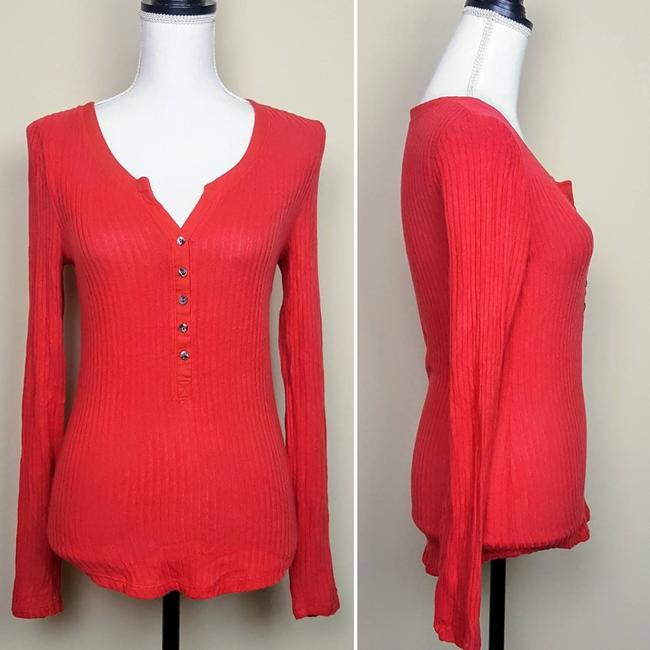 Anthropologie Boho Henley Longsleeve Button Down Shirt Red, Ribbed, Solid Image 1