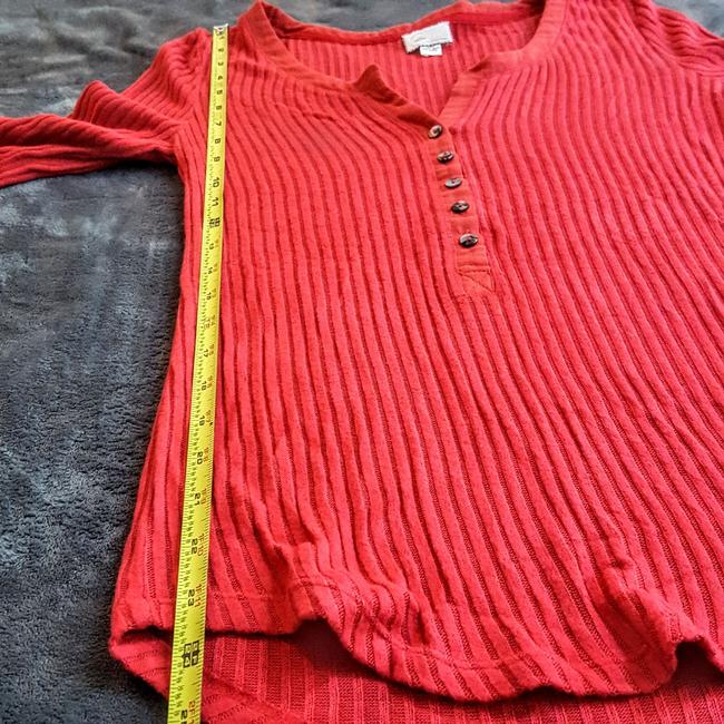 Anthropologie Boho Henley Longsleeve Button Down Shirt Red, Ribbed, Solid Image 10