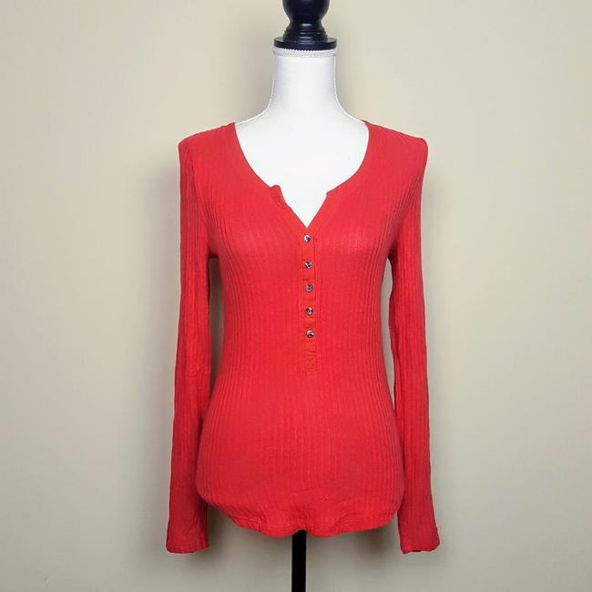 Anthropologie Boho Henley Longsleeve Button Down Shirt Red, Ribbed, Solid Image 2