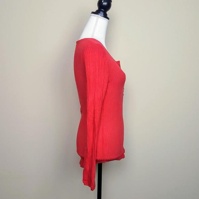 Anthropologie Boho Henley Longsleeve Button Down Shirt Red, Ribbed, Solid Image 3