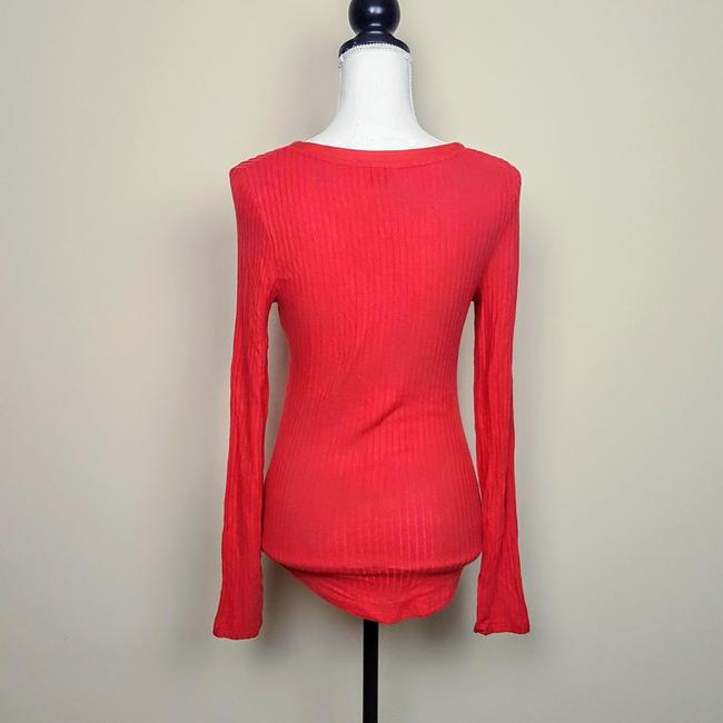 Anthropologie Boho Henley Longsleeve Button Down Shirt Red, Ribbed, Solid Image 4