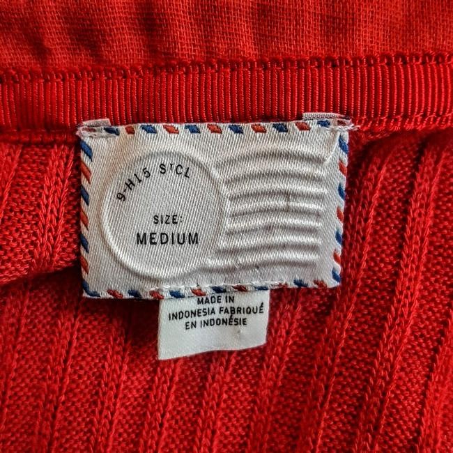 Anthropologie Boho Henley Longsleeve Button Down Shirt Red, Ribbed, Solid Image 6