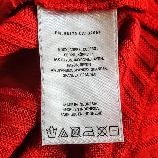 Anthropologie Boho Henley Longsleeve Button Down Shirt Red, Ribbed, Solid Image 8