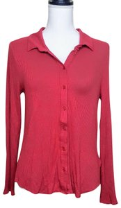 Anthropologie Henley Longsleeve Collar Button Down Shirt Red, Ribbed, Solid