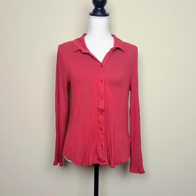 Anthropologie Henley Longsleeve Collar Button Down Shirt Red, Ribbed, Solid Image 1