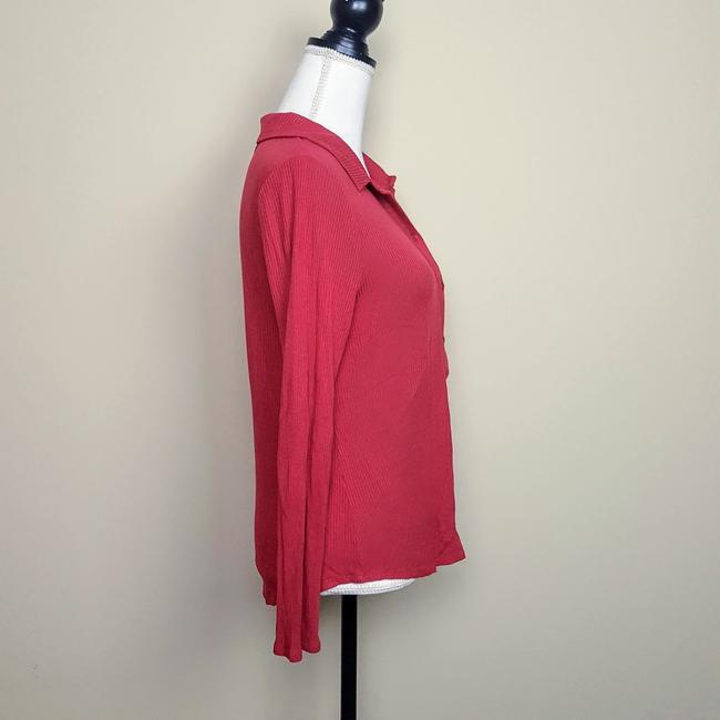 Anthropologie Henley Longsleeve Collar Button Down Shirt Red, Ribbed, Solid Image 2