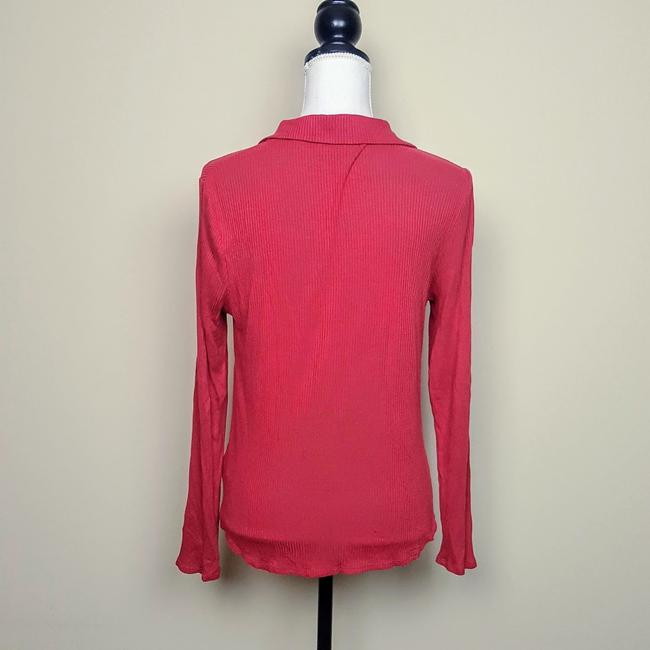 Anthropologie Henley Longsleeve Collar Button Down Shirt Red, Ribbed, Solid Image 3