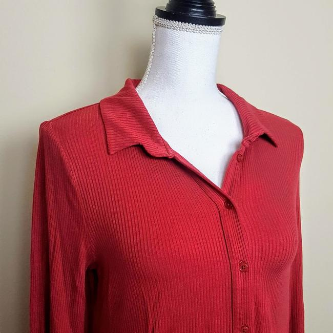 Anthropologie Henley Longsleeve Collar Button Down Shirt Red, Ribbed, Solid Image 4