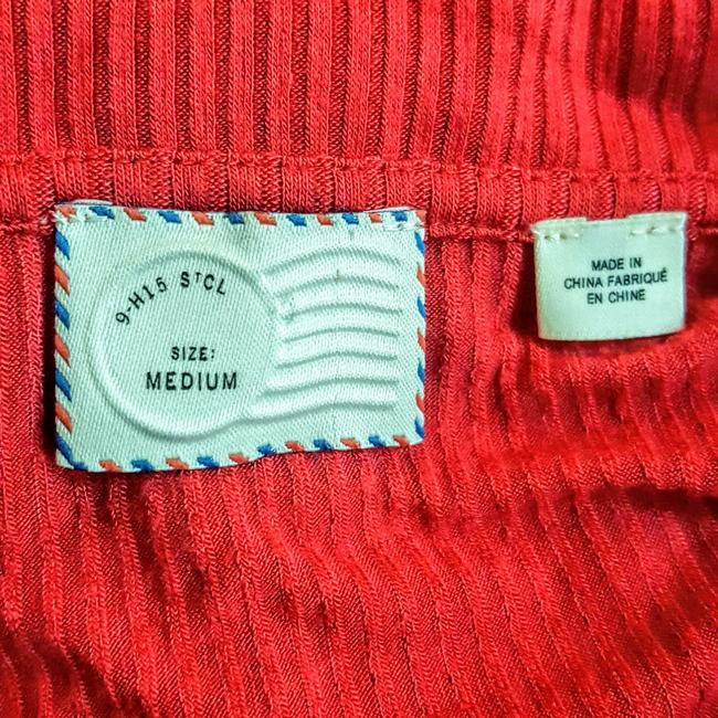 Anthropologie Henley Longsleeve Collar Button Down Shirt Red, Ribbed, Solid Image 5