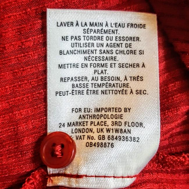 Anthropologie Henley Longsleeve Collar Button Down Shirt Red, Ribbed, Solid Image 6