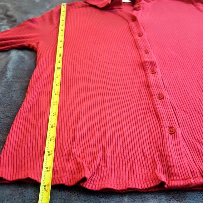 Anthropologie Henley Longsleeve Collar Button Down Shirt Red, Ribbed, Solid Image 8
