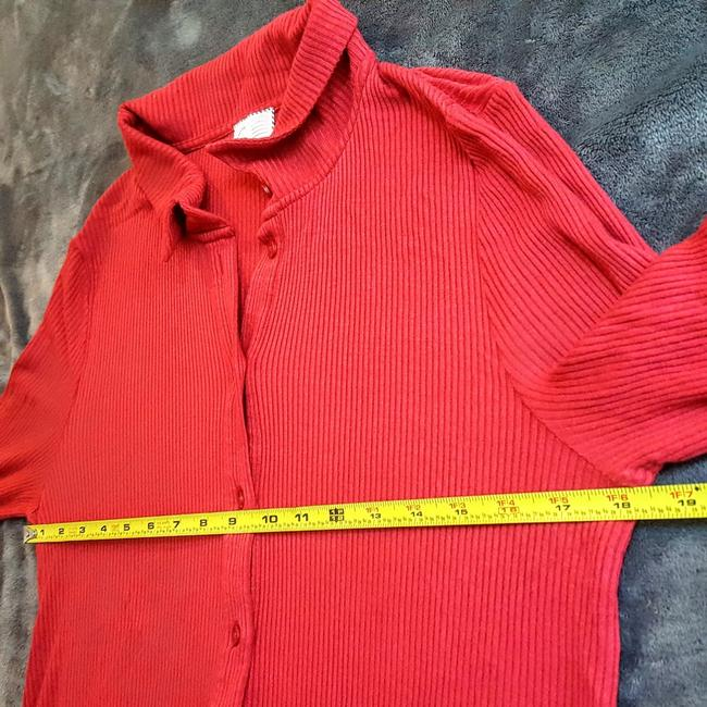 Anthropologie Henley Longsleeve Collar Button Down Shirt Red, Ribbed, Solid Image 9