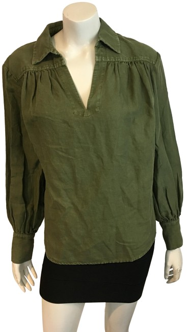 FRAME Green 8918 Olive Cotton Linen Tunic Blouse M Tee Shirt Size 8 (M) FRAME Green 8918 Olive Cotton Linen Tunic Blouse M Tee Shirt Size 8 (M) Image 1