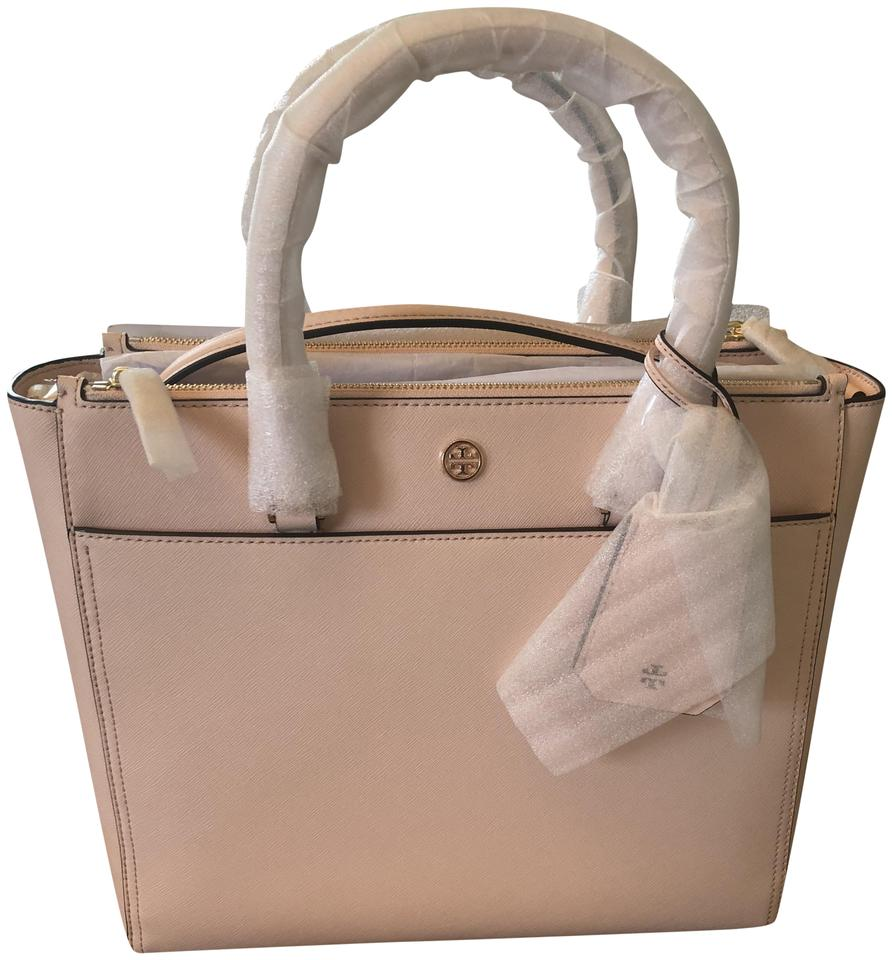 a63ccd0e19cc8 Tory Burch Robinson Double Zip Pale Apricot (Light Pink) Leather Tote