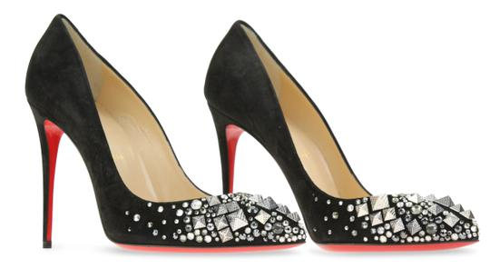Christian Louboutin Made In Italy Luxury Designer Red Sole Pointed Toe Crystal Embellished Black Pumps Image 1