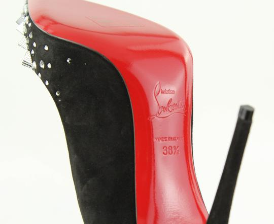 Christian Louboutin Made In Italy Luxury Designer Red Sole Pointed Toe Crystal Embellished Black Pumps Image 10