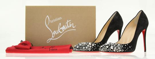 Christian Louboutin Made In Italy Luxury Designer Red Sole Pointed Toe Crystal Embellished Black Pumps Image 11